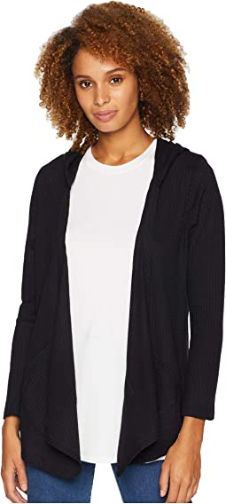 Long Sleeve Honeycomb Hooded Cardigan