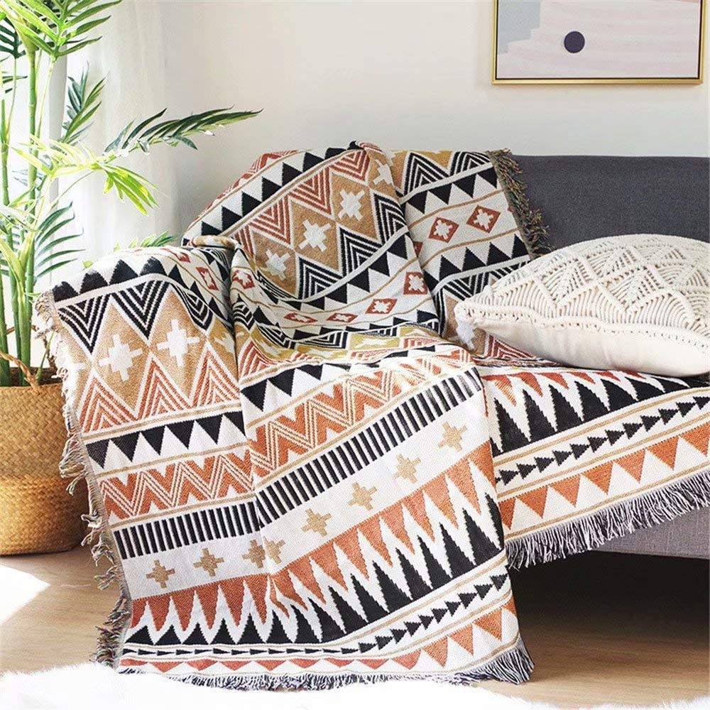 Homesy Southwest Throw Blanket for Couch Bed,Soft Aztec Knitted Woven Southwestern Navajo Throws Tapestry Cover for Living Room Chair Sofa Decorative 51