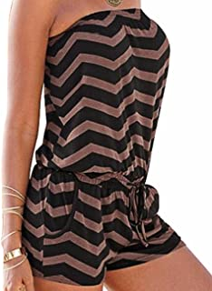5976b827605 Sexyshine Women s Strapless Off Shoulder Printed Beachwear Short Rompers  Jumpsuits