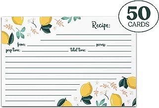 Jot & Mark Recipe Cards | Lemon Zest Print Double Sided 4x6 Inch Set of 50