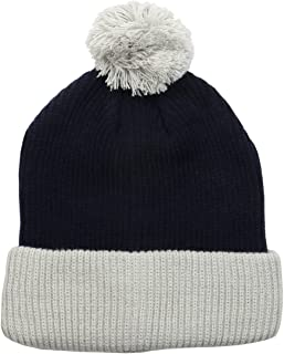 The Two Tone Thick Knitted Cuffed Winter Pom Beanie