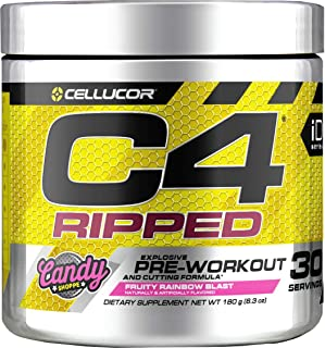 C4 Ripped Pre Workout Powder Fruity Rainbow Punch | Creatine Free + Sugar Free Preworkout Energy Supplement for Men & Wome...