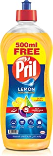 Pril Dishwashing Liquid - Lemon (1.5 Litres), with 5+ Self-Degreasing Action Power, Long-Lasting Formula for Stains Remova...