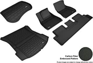 3D MAXpider L1TL99901509 Custom Fit All-Weather Kagu Series Floor Mats, Front Rear Cargo Liner Black Bundle Set Tesla Model 3