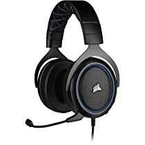Corsair HS50 PRO Wired Stereo Gaming Headset Adjustable Memory Foam Ear Cups, Lightweight, Noise-Cancelling Detachable Microphone with PC, PS4, Xbox One, Switch and Mobile Compatibility (Blue)