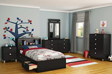 South Shore Bed, Twin, Pure Black