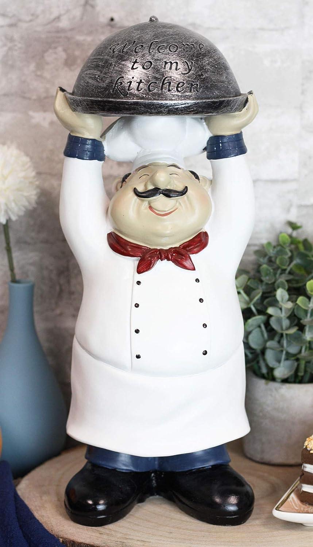 Ebros Cuisine Iron Bistro Fat Chef Holding Cloche Dome Tray Decorative Figurine 14
