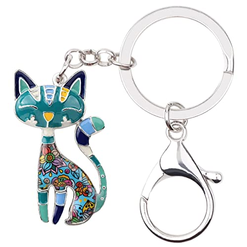 Bonsny Enamel Alloy Chain Cat Key Chains For Women Car Purse Handbag Charms 9ede862258