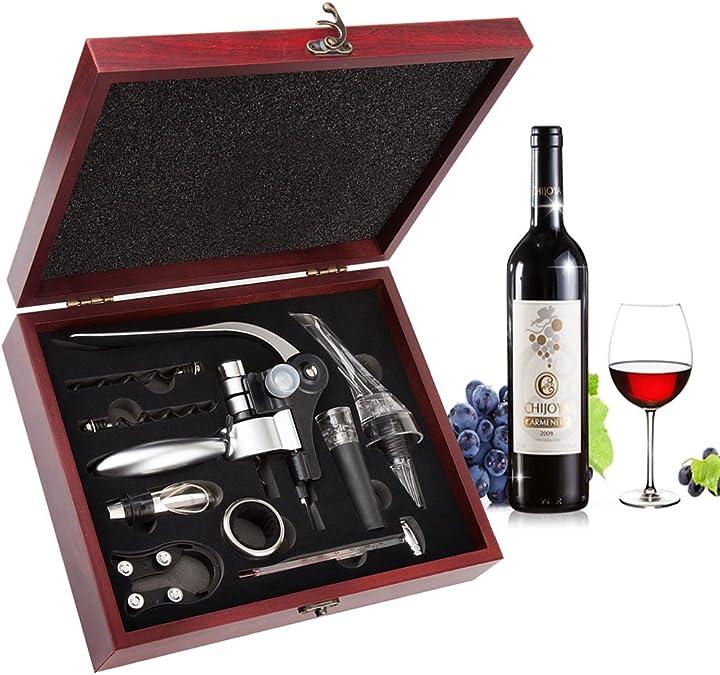 Set apribottiglie,smaier cavatappi a coniglio, kit accessori per vino, set regalo con custodia in legno smaier COMINHKG077125