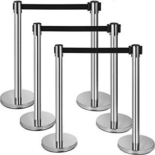 Mophorn 6 Pcs Stainless Steel Stanchions Posts Black Retractable Belt Rope Barriers 36In Crowd Control Barriers Silver Queue Pole for Party Supplies