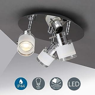 3 x 5W LED Lámpara de techo moderna, IP44 Luz de Baño con Focos Giratorios GU10, Blanca cálida 3000K, 400lm