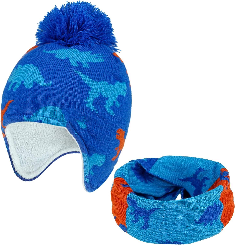 2Pcs Kids Winter Knitted Hats Scarf Set Warm Boys Girls Beanie Fleece Lining Toddler Kids Hat with Pompom