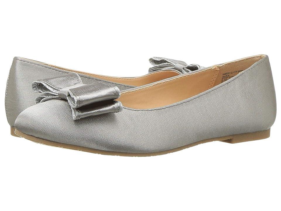 Badgley Mischka Kids Amber Glitzy Bow (Little Kid/Big Kid) (Silver) Girls Shoes