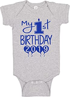 Reaxion Aiden's Corner Handmade First Birthday Baby Clothes - Baby Boys My 1st Birthday Bodysuits Shirts and Outfits