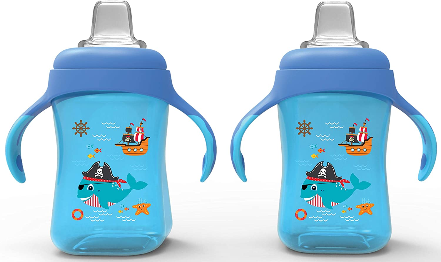 Avima Baby 10 oz Soft Spout Sippy Cups, Blue (Set of 2)