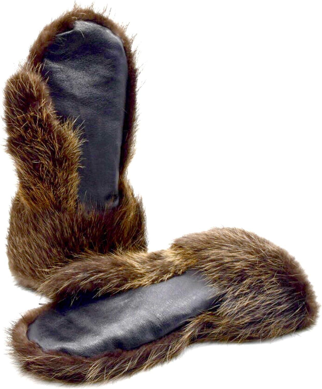 Long Men's Beaver fur Gauntlets, Warm Mitten Glove for Men, Real fur