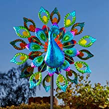 Peacock Solar Light Wind Spinner Garden Yard Decor Creative Solar Powered Colorful LED Windmill Outdoor Lawn Patio Pathway...