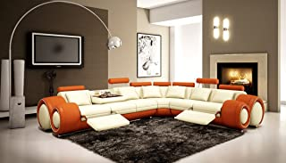 4087 Orange & Off-white Bonded Leather Sectional Sofa With Built-in Footrests