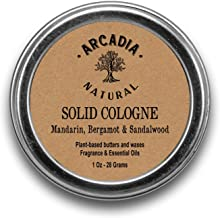 Mandarin, Bergamot & Sandalwood Solid Cologne - Handcrafted with natural oils and butters, Vegan and alcohol-Free cologne