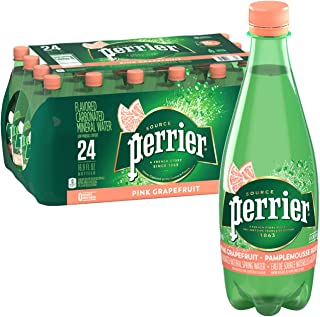 Perrier Sparkling Natural Mineral Water, Pink Grapefruit 16.9- Fluid ounce plastic bottles (Pack of 24)