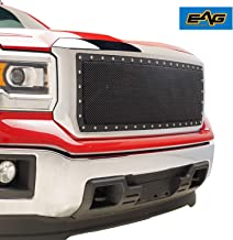 EAG Rivet Black Stainless Steel Wire Mesh Grille Fit for 2014-2015 GMC Sierra 1500