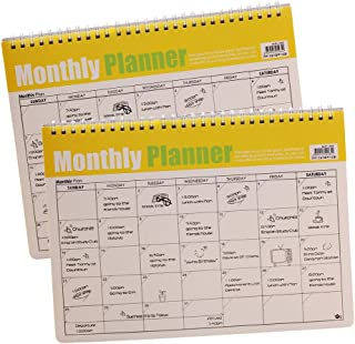 Monthly Planner & Daily Plan,Desktop Study Schedule,Appointment Schedule,Goals and Notes,Desk Pad Calendar (2 Pcs)