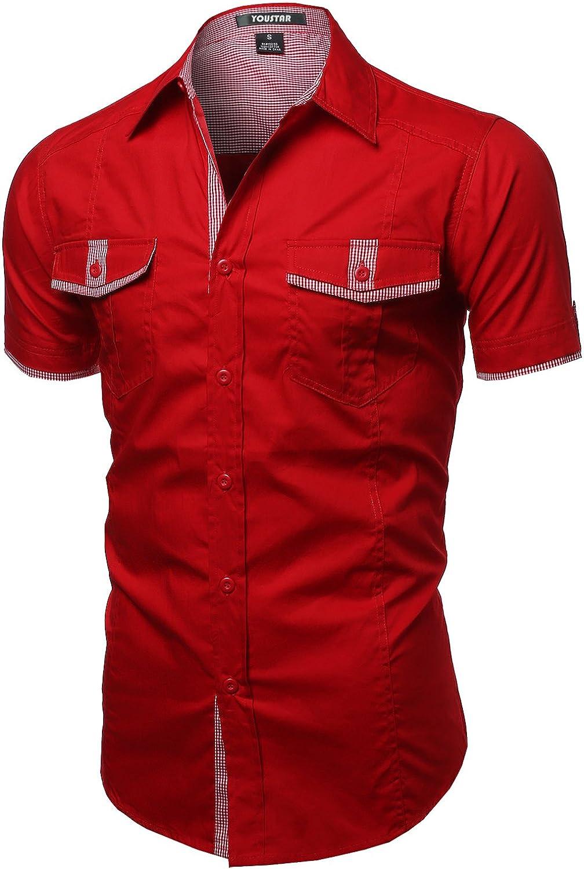 Youstar Men's Short Sleeve Button Down Shirts