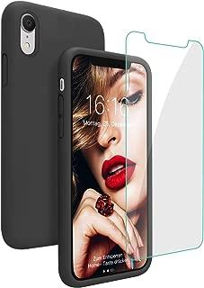 JASBON Hülle für iPhone XR, Silikon Handyhülle mit Kostenfreier Schutzfolie Schutz vor Stoßfest/Scratch Schutzhülle Bumper Case Cover für iPhone XR (6,1 Zoll) Schwarz