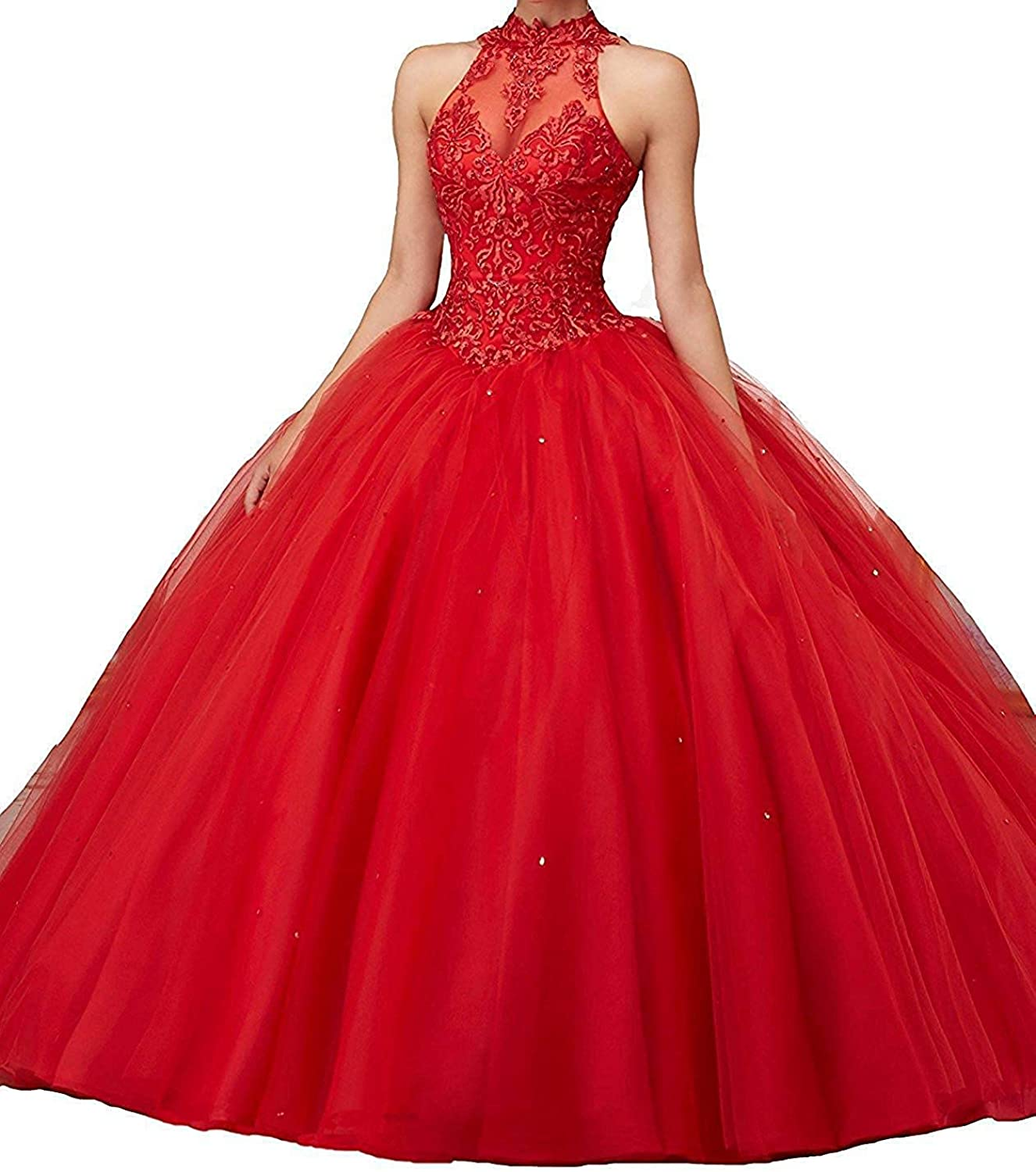 ASBridal Quinceanera Dress High Neck Lace Formal Prom Party Gown Open Back Sweet 16 Quinceanera Dresses
