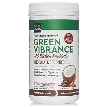 Vibrant Health, Green Vibrance, Plant-Based Superfood Powder, Vegan Friendly, Chocolate Coconut, 25 Servings