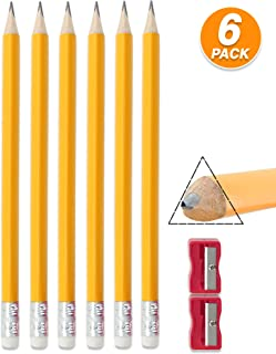 Emraw Pre Sharpened Triangular Primary Size No 2 Jumbo Pencils for Preschoolers, Elementary Kids - Pack of 6 Fat Pencils with Bonus Sharpener