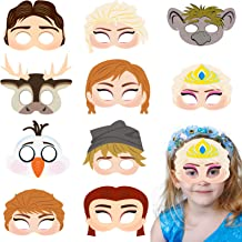 BeYumi 20Pcs Elsa and Anna Princess Masks Set Frozen Theme Party Costume Mask Cosplay Snow Queen Mask Carnival Halloween Party Supplies Pretend Play Accessories for Kids