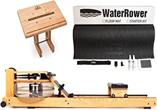 WaterRower Natural Rowing Machine Bundle - S4 Monitor, Laptop Stand and External Starter Kit