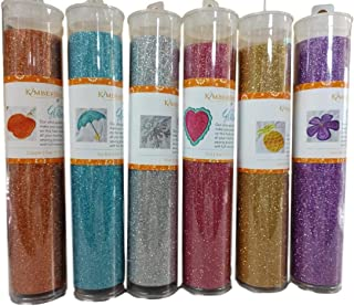 Glitter Vinyl Sheets for Applique and Crafts: Pink, Copper, Light Gold, Lavender, Sky Blue and Silver-Bundle of 6 Colors and 2 Mini Gift Cards