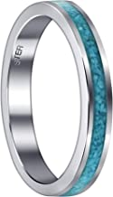 Gem Avenue 925 Sterling Silver Turquoise Chip Inlay 4 mm Unisex Band Womens Ring