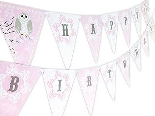Snowy Owl Pink Happy Birthday Banner Pennant