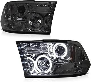 [For 2009-2018 Dodge RAM 1500 2500 3500] CCFL Halo Ring Chrome Smoke Projector Headlight Headlamp Assembly, Driver & Passenger Side