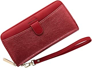 Cyanb Women Bifold Clutch Wallets Iphone Wristlet Purses for Women Lady with Zipper and Wrist Strap