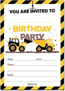 30 Construction Dump Trucks Birthday Invitations with Envelopes (30 Pack) - Kids Birthday Party Invitations for Boys