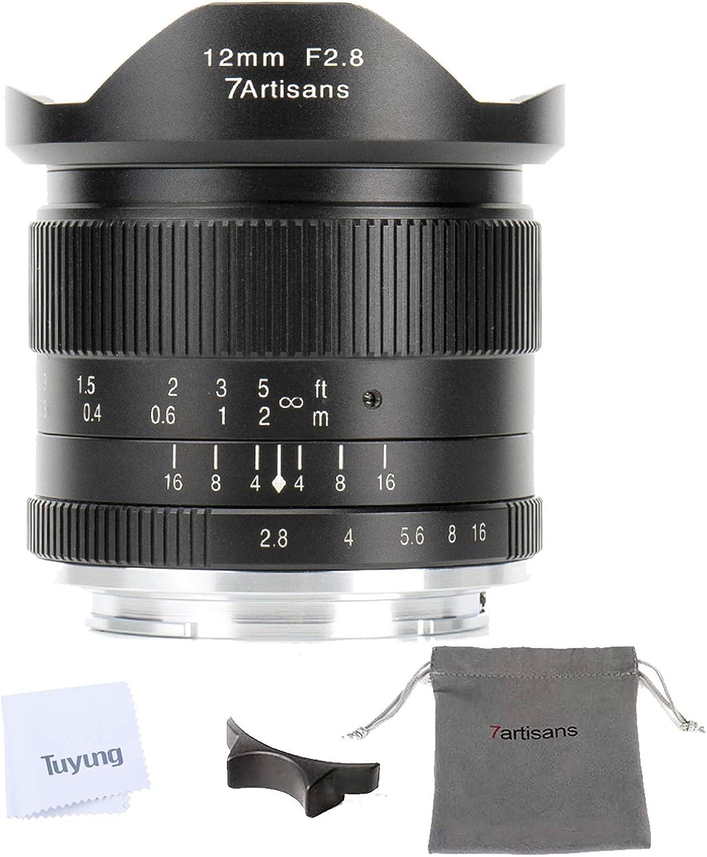 7artisans 12mm F2.8 APS-C Lente gran angular para cámaras con montaje M4 / 3 Panasonic y Olympus - Lente fija de enfoque manual y kit de limpieza TUYUNG
