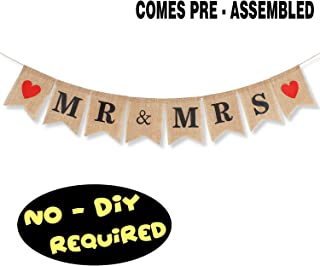 Mr & Mrs Burlap Banner Flag Red Heart Congratulations on Wedding Party Bride to Be Photo Booth Prop Table Hanging Decorations Supplies