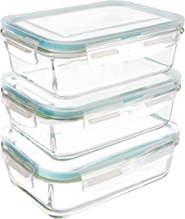 Utopia Kitchen Glass Containers for Food Storage with Lids (3-Pack, 28 oz.) - Food Prep Airtight Containers with Lids - BPA Free and FDA Approved Containers