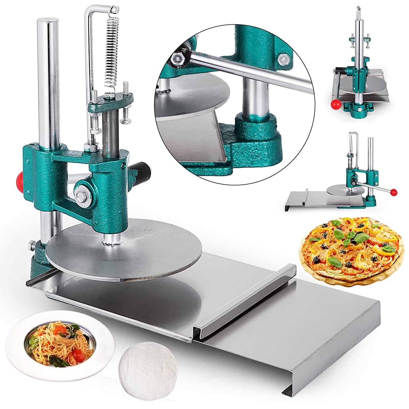 VEVOR Pizza Pastry Press Machine Stainless Steel Household Pizza Dough Pastry Manual Press Machine Metal Plate Diameter (7.87inches)