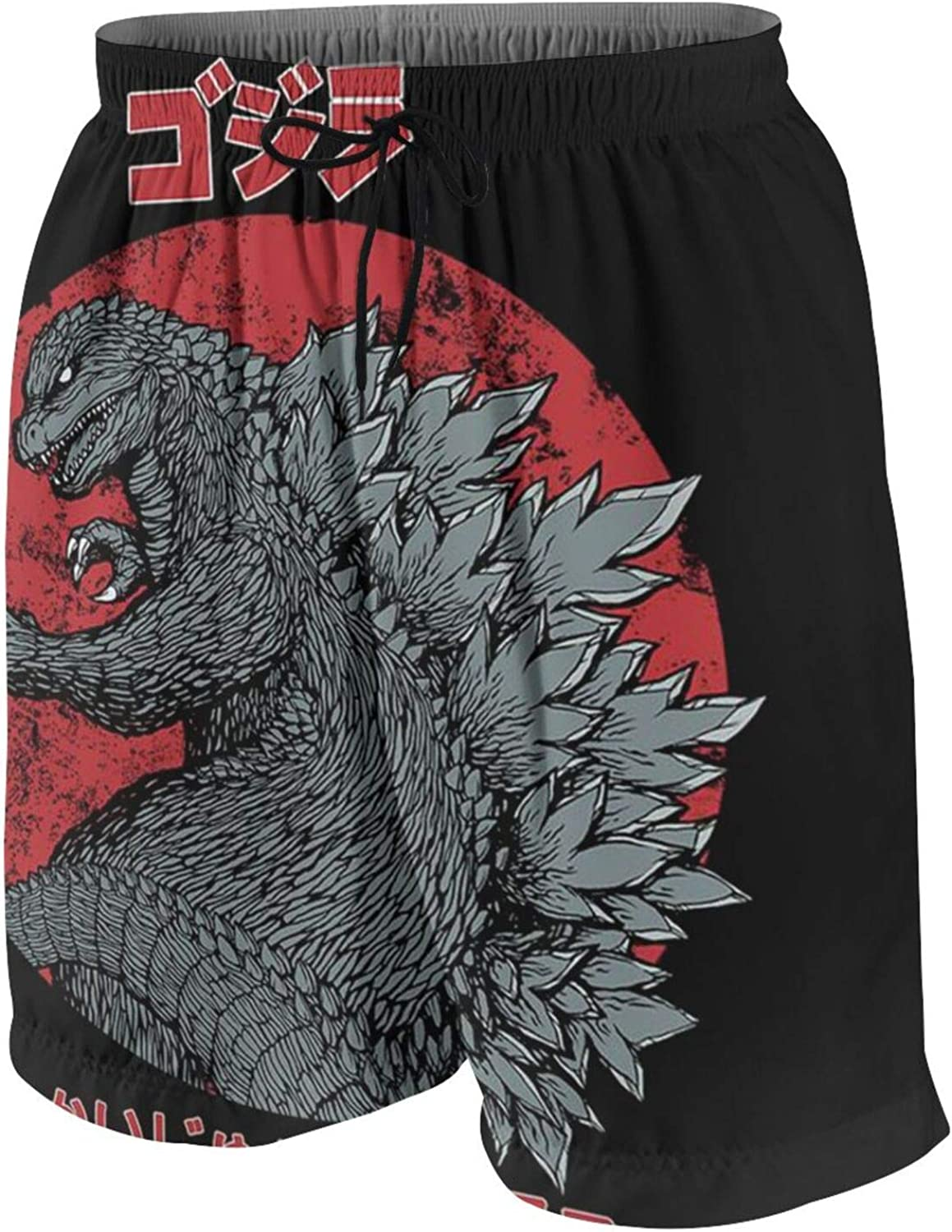 GHYGTY God-Zilla Shorts Drawstring Quick Dry Beach Shorts with Pockets Swim Trunks for Teens Boy