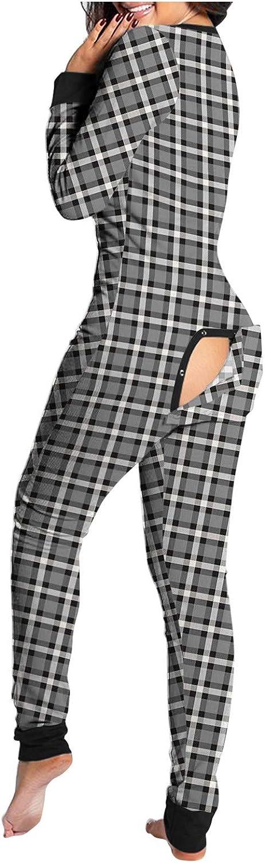 Hengshikejim Pajamas Onesie for Women Sexy V-Neck Graphic Bodycon Bodysuit Zip Up Rompers Butt Flap Long Sleepwear