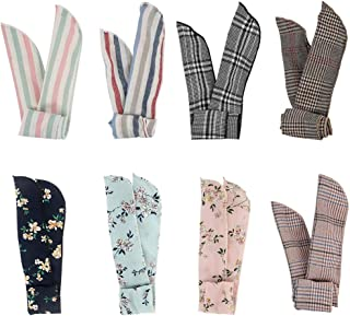 Kaide 8 Pcs Wire Bunny Ear Headband Hair Wrap Bow Pin-Up Anti-Slip Design Girl Twisted Tie Fashion Hairband