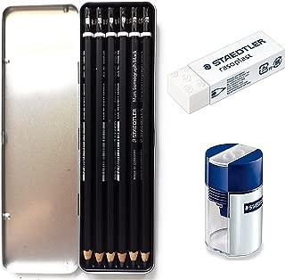 Lumograph Black Artist Wooden Lead Pencil - Box of 6 (8B 6B 4B 4B 2B 2B) in Metal Box- with Tub 2-Hole Sharpener and Free Eraser