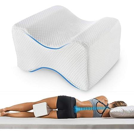Oreiller de genoux en mousse /à m/émoire de forme de c/œur pour dormeuses lat/érales avec sangle /élastique