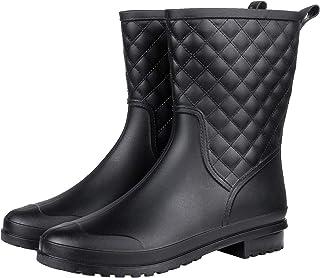 Litfun Womens Black Mid Calf Rain Boots Outdoor Work...