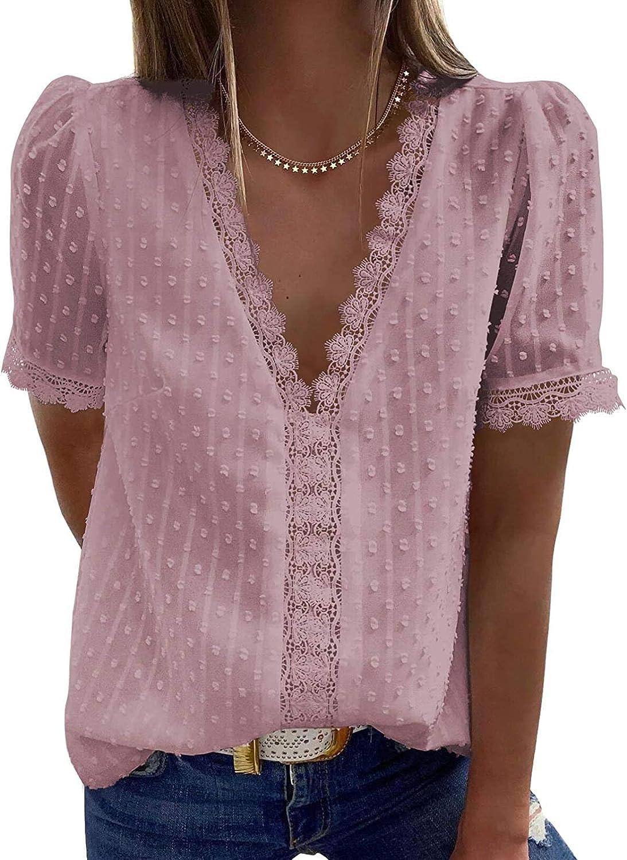 Womens Short Sleeve Chiffon Ruffle Crochet Blouses Swiss Dot Casual T Shirts Tops